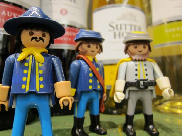 Adorable image of Playmobil Civil War guys and wine bottles